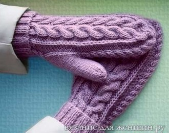 вязание варежек с орнаментом на двух спицах женские варежки спицами
