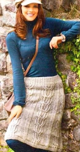 d5b6c164a949 El esquema de tejer una falda cálida con agujas para mujer. Cómo ...